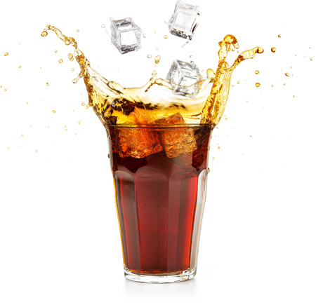 ice cubes falling into a cola drink splashing isolated on white