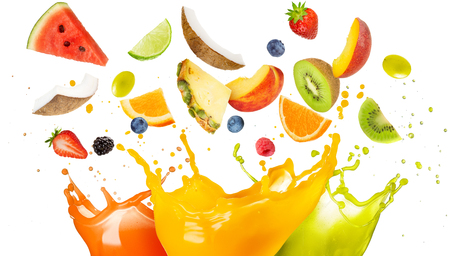 mixed fruit falling in colorful juices splashing Zdjęcie Seryjne - 84187568