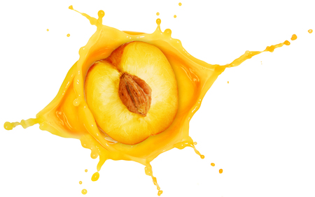 half peach fallen into a juice splash isolated on white