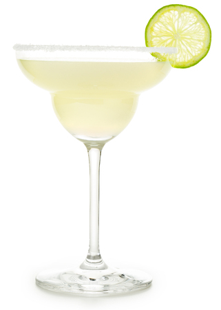 margarita cocktail garnished with salt and lime isolated on white
