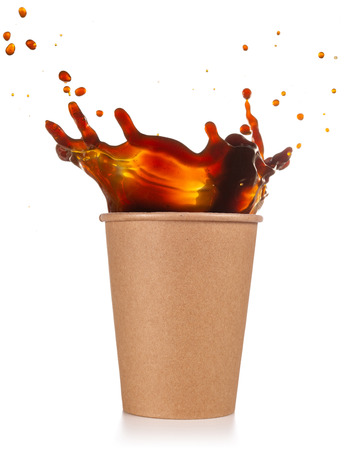coffee splashing out of a disposable cup isolated on white Stok Fotoğraf