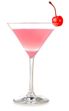 pink martini cocktail garnished with cherry isolated on white background