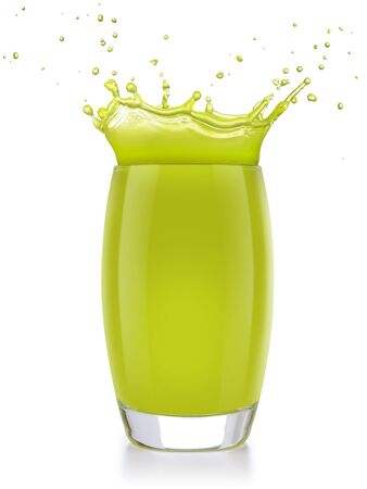 green juice splashing out of a glass isolated on white