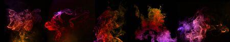 multi colored swirls of smoke on black background