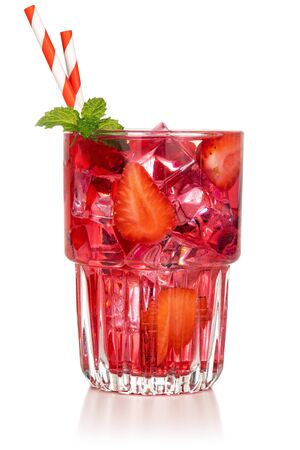 strawberry cocktail glass with mint leaf and straws on white background