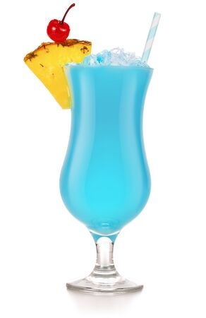 blue hawaiian coctail garnished with pineapple and cherry Banco de Imagens