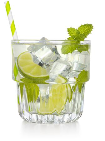iced mojito cocktail glass isolated on white background
