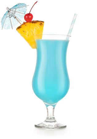 blue cocktail garnished with pineapple, cherry, umbrella and drinking straw, on white background