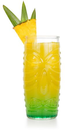 tiki cocktail garnished with pineapple isolated on white background 版權商用圖片