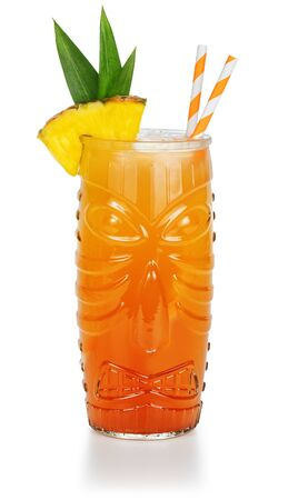 tiki cocktail garnished with pineapple isolated on white background 免版税图像