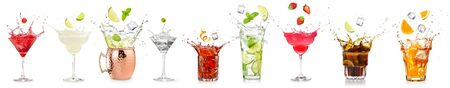 splashing cocktails collection isolated on white background	 版權商用圖片