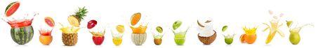 collection of splashing cut fruit isolated on white background