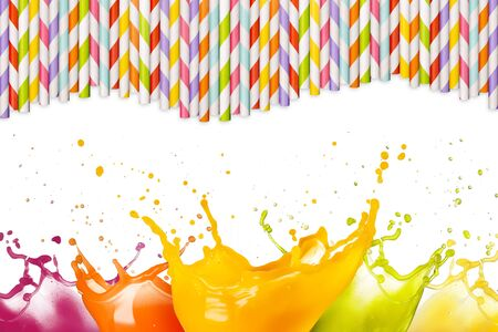multicolor juice splashes and drinking straws on white background