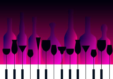 piano keyboard and cocktail glasses in a purple blue background with bottles silhouettes, vector illustration 矢量图像