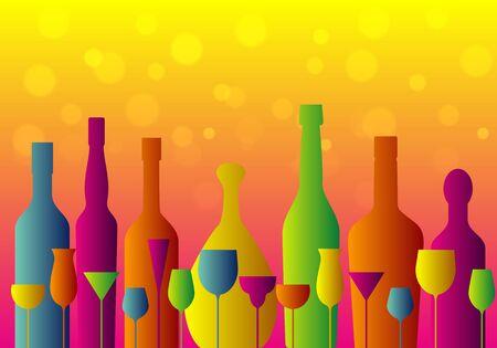 set of colorful cocktail glasses and bottles on orange background, vector illustration Illustration