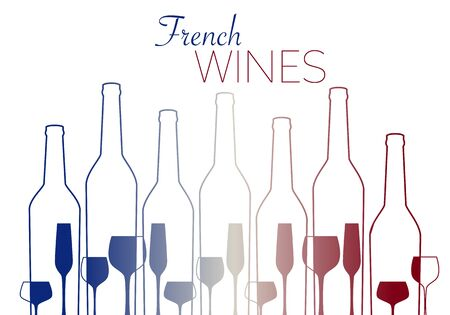 outlines of wine bottles and glasses with french flag colors isolated on white background, vector illustration 矢量图像