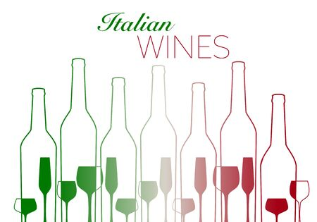 outlines of wine bottles and glasses with italian flag colors isolated on white background 矢量图像