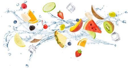 fresh fruit flying in splashing water isolated on white background