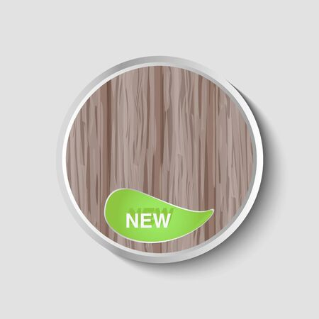 timber floor: Vector natural stickers with leaf