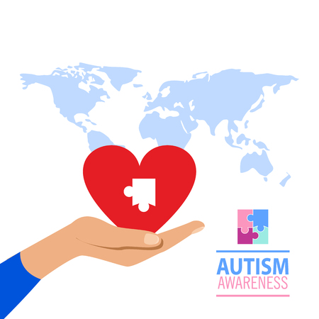 Emblem made from puzzle pieces and autism colors Illustration