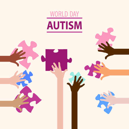 Autism awareness concept with human hands.