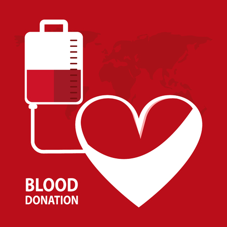 Bag heart blood donation icon. Colorfull and flat illustration. Vector graphic.