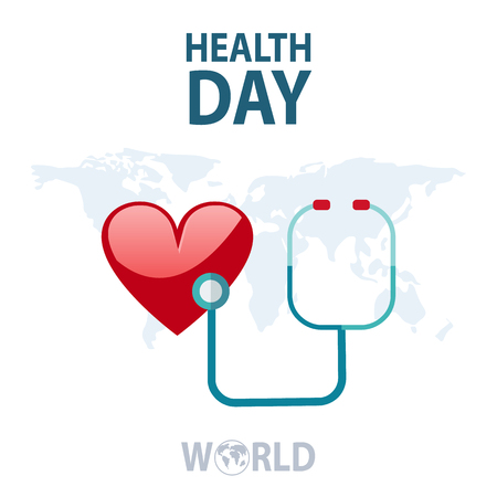 Health World Day Global Holiday Banner With Copy Space Flat Vector Illustration