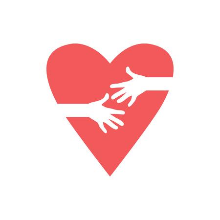 Love Heart Care Logo Hugging Heart Symbol Hug Yourself Love