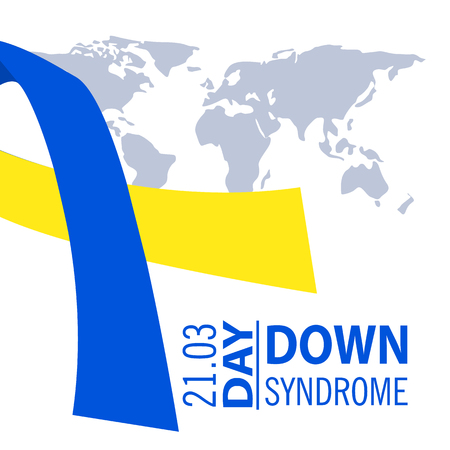 Down syndrome illustration, white background,