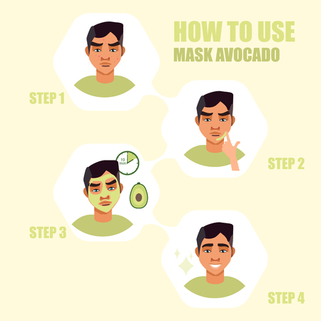 face mask. Beauty men with face mask. Illustration