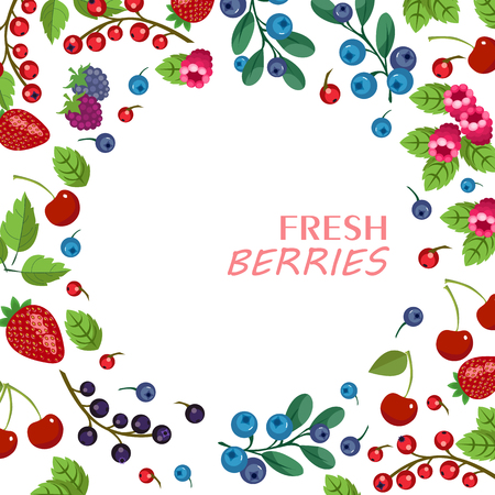 Fresh fruits and berries frame with lettering 向量圖像