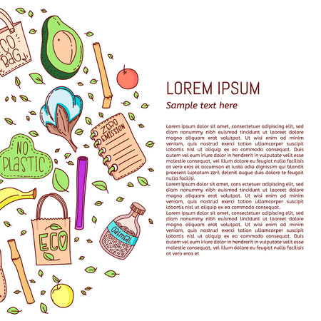 Zero waste flyer. Hand drawn vector illustration. Event poster, banner and card. Vektoros illusztráció