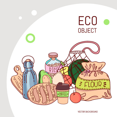 Hand drawn elements of zero waste life in vector. Eco style. No plastic. Go green Ilustrace