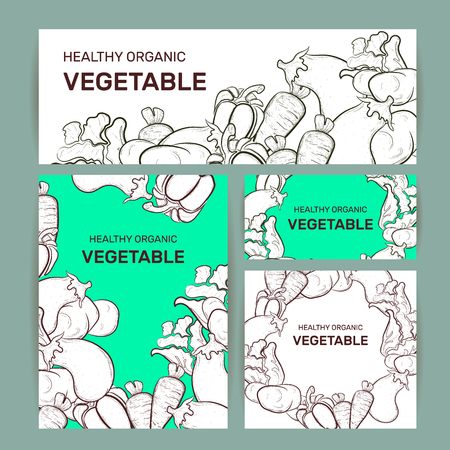Vector illustration of vegetables set outline. Set of vegetables in outline. Vegetable doodles pattern/background of popular vegetables and greens, in outline, flat style.