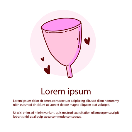 Zero waste concept poster. Menstrual cup. Less waste. Zero waste. Environmental protection. Çizim