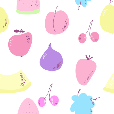 Seamless background with various fruits on white. Vector fruit pattern.
