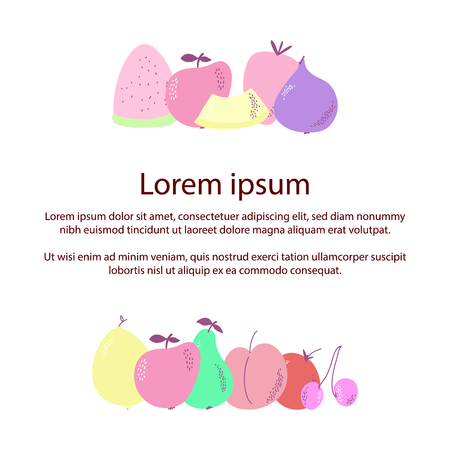 Colorful fruit illustration. Of fruits for your design. Vector illustration. Ilustração