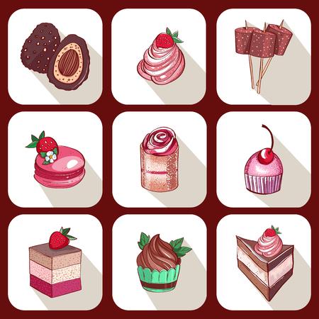 Set köstlicher süßer Desserts aus Schokolade, Erdbeere und Waldfrüchten. Glasiertes, gefülltes und gefülltes Gebäck in einer Konditorei oder einem Café. Isolierte Vektorbilder mit einem Schatten. Vektorgrafik