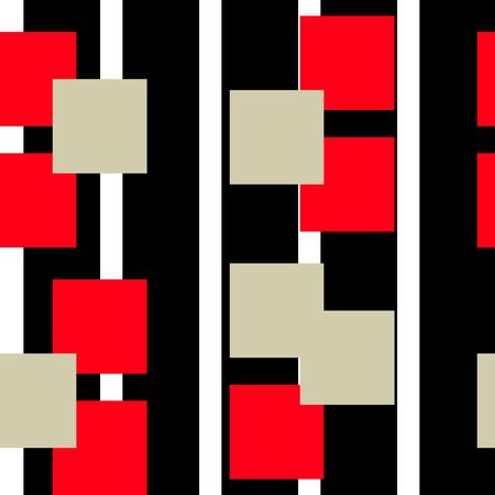 Digital abstract linear geometric seamless pattern background design in red and black colors. Squares red, black and beige. Vector illustration.
