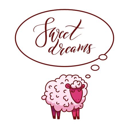 Lambs. Little lamb. The theme of insomnia. Stock Vector - 129773854