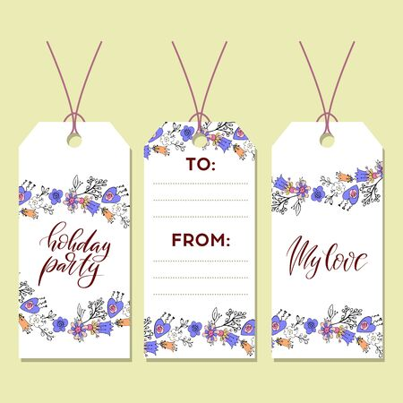 Gift tags set for design. Vector illustration flowers.