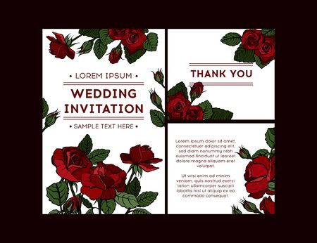 Red rose. Floral botanical flower. Celebration postcard design with roses. Vector illustration.