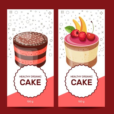 Template with different desserts with fruits. For your design, announcements, posters, restaurant menu.