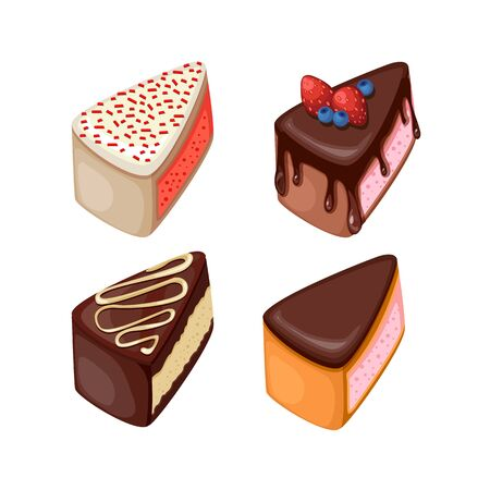 Vector illustration of different cakes. Set of colorful desserts with fruits. Cakes with different fillings.