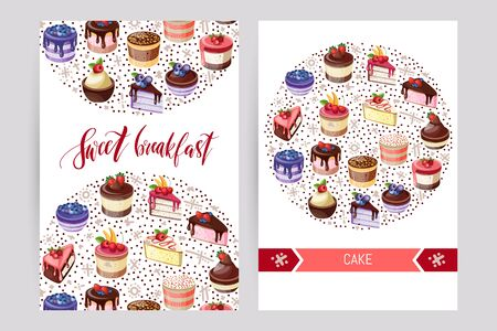 Card collection pastries and cake. Posters of bakery sweet shop or coffee house. Vector illustration.