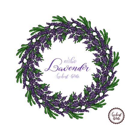 Lavender Card with flowers. Vintage Label with provence violet lavender. Wreath of Lavender. Greeting card provence herbs,  invitation card for wedding. Vector illustration.