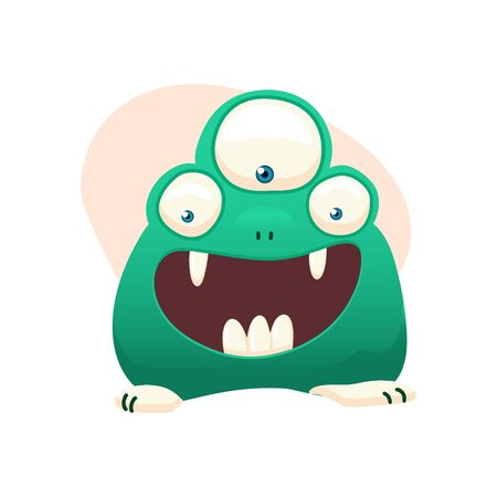 Monster isolated on white. Cartoon Monsters collection. Design for print, party decoration, t-shirt, illustration, emblem or sticker. Vector illustration.