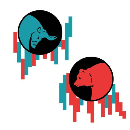 Bear and bull vector logo. Players on Exchange. Bulls and bears traders on a stock market.