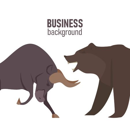 Bullish and Bearish symbols on stock market vector illustration. The symbol of the bear and the bull. The growing and falling market.