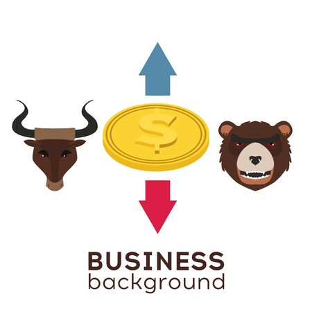 Stock market.  Players on Exchange. Bulls and bears traders on a stock market.